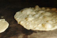 Naan Bread on pizza stone