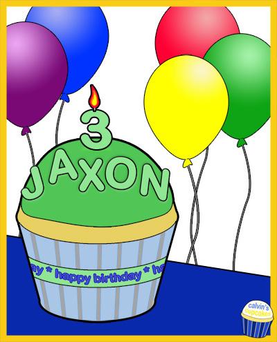 Jaxon Thomas's 3rd Birthday Cupcake
