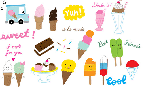 I Scream U Scream embroidery pattern set