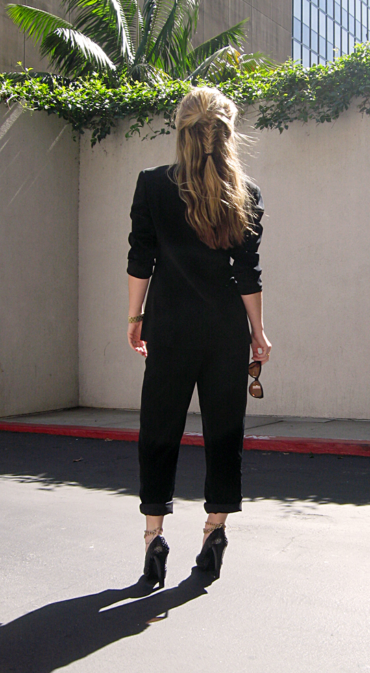 black suit ankle chains fish tail hair braid -sh-pp