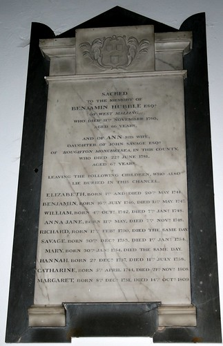 Memorial Tablet at St Mary, West Malling, Kent