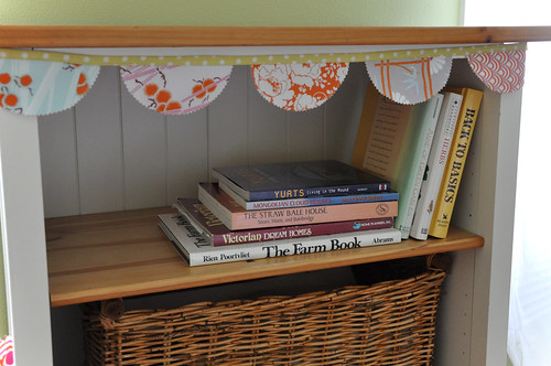bunting on shelf