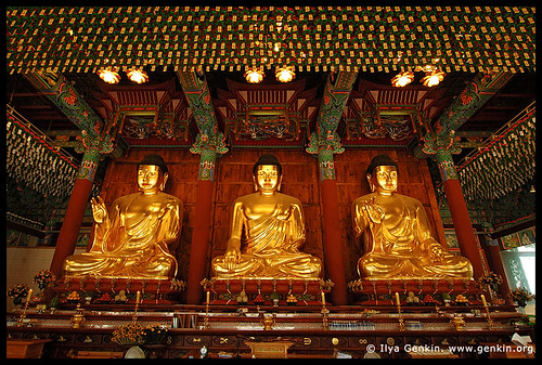 Three Golden Buddha Statues Inside Jogyesa Temple in Seoul, South Korea