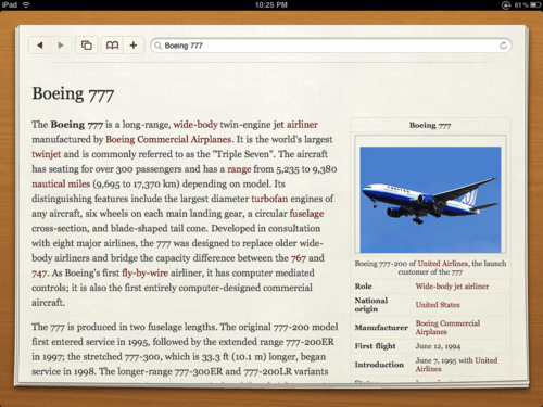 Captura de pantalla de Articles, un cliente para Wikipedia en iPad