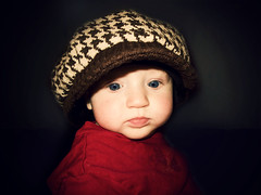 Baby's got you hat again! (jesuschick) Tags: blue red baby brown love hat shirt kid eyes child little aunt niece sissy slobber