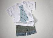 Dapper set - knit shorties & appliqued t-shirt - medium