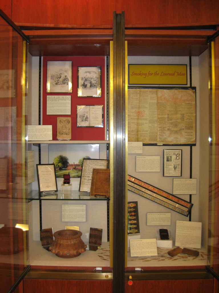 """Smoking for the Learned Man"" exhibit case"