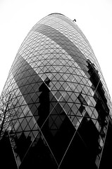 Gherkin Tower (marian balas) Tags: street city blackandwhite london tower glasses mirror nikon cityscape spiegel gherkin spiegelung nikond90 nikond90club