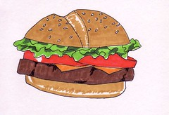 Cheeseburger (Homemade Pop) Tags: art artwork artist folkart outsiderart folk originalart contemporary drawings pop popart homemade marker prints prismacolor foodart doodling 5x7 magicmarker foodpackaging pilotpen cheapart retroart brightart originalillustration quirkyart