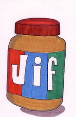 JIF Peanut Butter (Homemade Pop) Tags: art artwork artist folkart outsiderart folk originalart contemporary drawings pop popart homemade marker prints prismacolor foodart doodling 5x7 magicmarker foodpackaging pilotpen cheapart retroart brightart originalillustration quirkyart
