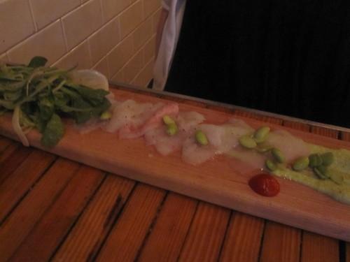 Josiane's Flounder sashimi with edamame
