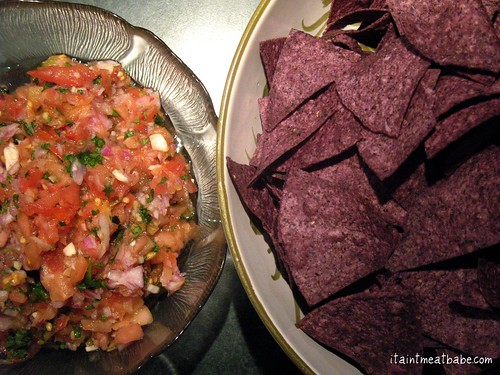 blue corn chips and homemade salsa