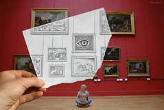 Pencil Vs Camera - 7 (Ben Heine) Tags: new red woman france eye art look animal wall museum composition painting buzz rouge sketch back frames model poetry poem time nikond70 framed watch go paintings 7 poetic exhibition dessin her oeil special half passion histoire littlegirl series conceptual lille bigbrother dimension goya flickrblog renaissance interest opticalillusion hold millet opinion botticelli interpretation 4eyes miseenabyme number7 thebirthofvenus canvases featured palaisdesbeauxarts cadres pupille theartistery miseenabme thegleaners historyofart petersquinn benheine thethirdofmay1808 drawingvsphotography 2dvs3d traditionalvsdigital pencilvscamera miseenabysme lesglneuses diasecprint