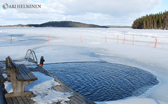 Want to take a dive ? (Ari Helminen) Tags: winter white lake snow ice nature water swim finland chair forrest scandinavia northeurope icecold d80