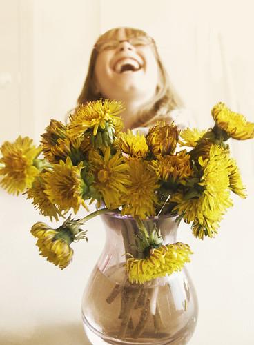 """dandelions in a vase"""