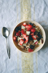 115/365 (butterflyfoodie) Tags: morning fruit breakfast cereal spoon bowl muesli