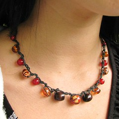 Red, orange, and black beaded hemp necklace - Muse's Inspiration