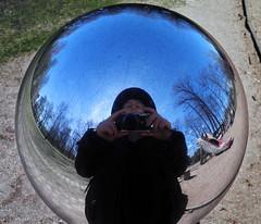 Me and the li'l camera (Eva the Weaver) Tags: camera fish reflection me myself gteborg mirror globe sweden gothenburg slide scratches scales trdgrdsfreningen