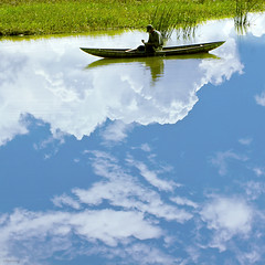 Boat floating on clouds (-clicking-) Tags: lighting light sky sunlight reflection nature water beautiful sunshine clouds river landscape boat fishing natural cloudy country floating vietnam abigfave theunforgettablepictures 100commentgroup artofimages bestcapturesaoi bestofmywinners tripleniceshot elitegalleryaoi masterclasselite