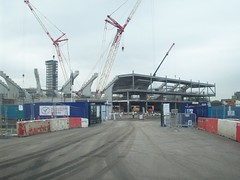 Handball Arena - London 2012 Olympic Site (Andy Wilkes) Tags: london andy river site construction view stadium centre tube may andrew arena lea inside olympic build handball velodrome 2012 2010 wilkes aquatics londonist marshgate insidelondon2012