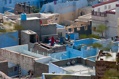 Sur les toits bleus (jf garbez) Tags: voyage city travel roof people india town nikon asia indian asie nikkor toit indien personnes ville rajasthan gens inde nationalgeographic jodhpur indienne 18200mm habitant d80 nikond80 bhratganarjya  nikonpassion nikkor1802000mmf3556