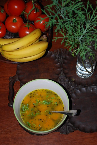 Sweet and Sour Masoor Dal Soup with Pumpkin