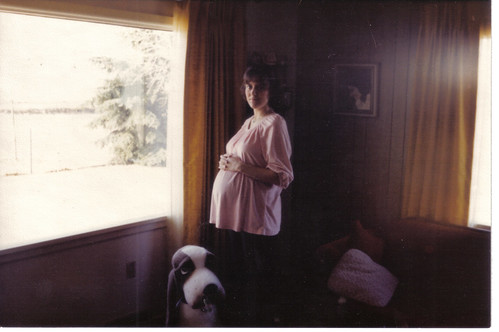 Sue.Struck.Feb.1981[7 months pregnant with Maria Rose]