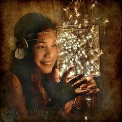 Playing with Fairy lights. (Mariel OP :)) Tags: selfportrait photoshop 50mm lights nikon d70 may christmaslights fairy monthly textured galleryofdreams creativeoutbursts untouchabledream