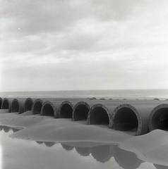 Divers 6x6 6 (YannickH) Tags: sea bw mer 6x6 film beach pipes sable plage yashica argentique zeelande yannickh yannickhnet