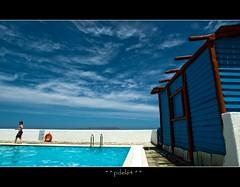 Run or dive ! (pdel64@photography) Tags: blue sea sky cloud mer color beach water pool eau skies phil bleu creta greece ciel crete nuage plage grece piscine numeric delobel pdel philippedelobel pdel64