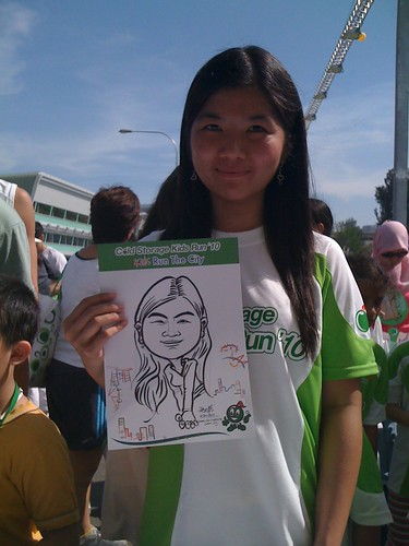 caricature live sketching for Cold Storage Kids Run 2010 - 13