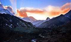 Sunset Over Manang (ChuckCash) Tags: nepal sunset mountains trekking trek landscape ray pentax sunrays annapurnacircuit annapurna hdr himalayas kx manang