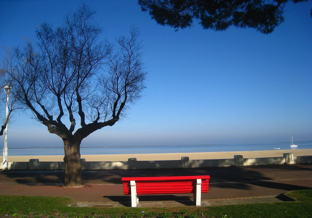 The beaches and towns of Arcachon Bay, France are quiet in Winter.