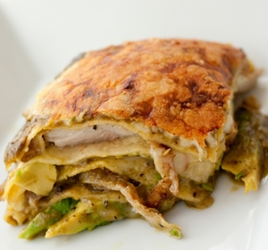 Stacked Green Chile & Grilled Chicken Enchilada
