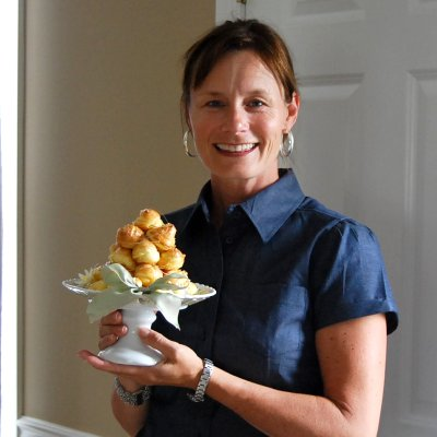 Pam and the birthday croquembouche