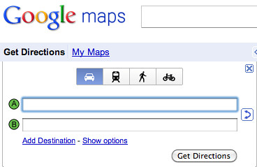 New Google Map Directions Options