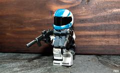 Space Blue Team Commando (front) (-Juzu-) Tags: lego figure legospace brickarms legofigure