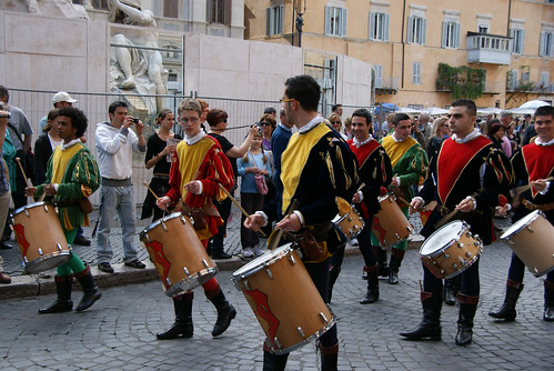 Marching drummers in Piazza Navona