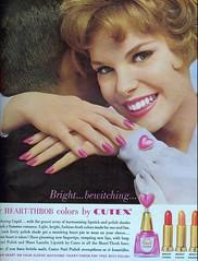Heart-throb colors (sugarpie honeybunch) Tags: pink magazine advertising 60s ad 1960s lipstick nailpolish cosmetics seventeen cutex