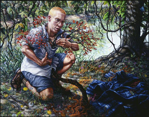 a painting of activist Eli Clare. He is in the forest, kneeling. From within his shirt sprouts a tree or branch with tiny red leaves which he clutches while staring at the ground. The forest is lush and richly detailed. A flannel shirt lies in the corner across from Eli, who is illuminated with light.