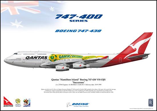 c/n: 25564 Qantas, Hamilton Island, Socceroos, Boeing 747-438 VH-OJS