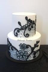 Black Lace (Deliciously Decadent (Taya)) Tags: wedding black cake vintage pattern lace swirls filigree