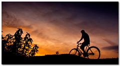 return journey (Soumya Bandyopadhyay) Tags: sunset sky colors bicycle silhouette landscape ride dusk wide panoramic cycle return villager westbengal pentaxk200d pentax1855mmii