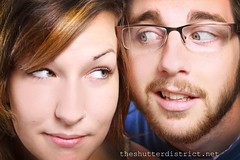 Couple of guys. They were up to no good. (TheShutterDistrict) Tags: portrait canon studio tile glasses engagement hands looking blueeyes couples marriage engagementring ring hazeleyes arkansas resting smirk freshprince 2470mm boyandgirl 50d