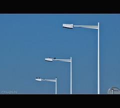Untitled (Dalang55555) Tags: morning blue sky drive streetlamp sony cybershot lamppost commute dailylife trafficjam pigion dsh50