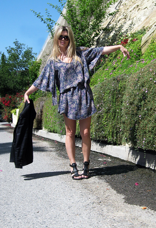 fine floral print dress+black blazer+fiorentini and Baker sandals, dress with blazer, vintage dress, tiny floral print pattern, belted dress, bohemian, chic, blonde hair, long blond hair, coachella look, music fair outfit, shoes, clothes, shopping, sandals, chunky leather sandals