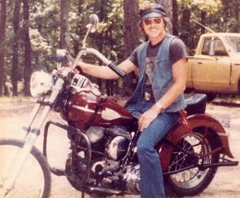 Charles on his 45 Panhead Harley