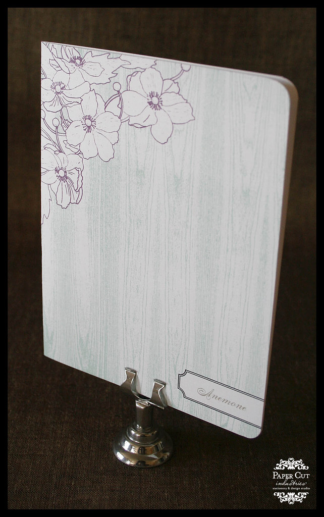 Anemone Blank Everyday Cards Mint Green and Purple with wood grain