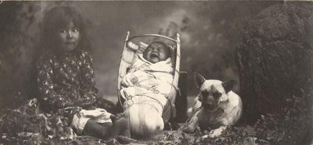 Annie Mitchell, baby Clement Mitchell, and Pido the dog in Ukiah, CA 1904