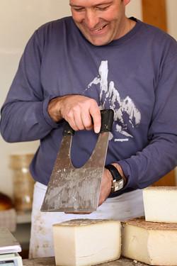 cutting gruyere